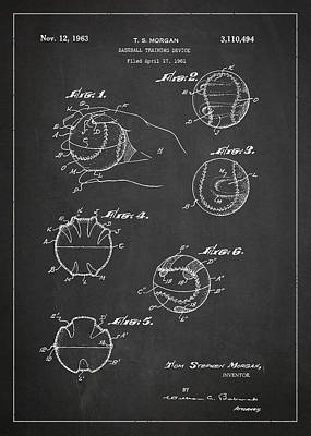 Softball Drawing - Baseball Training Device Patent Drawing From 1961 by Aged Pixel