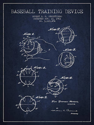 Sports Royalty-Free and Rights-Managed Images - Baseball Training Device Patent Drawing From 1963 by Aged Pixel