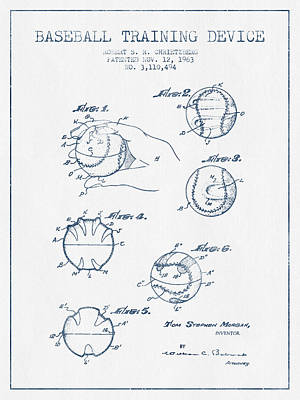Baseball Art Drawing - Baseball Training Device Patent Drawing From 1963 - Blue Ink by Aged Pixel