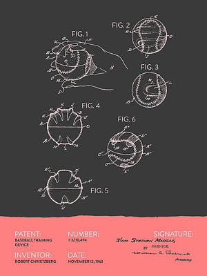 Baseball Digital Art - Baseball Training Device Patent From 1963 - Gray Salmon by Aged Pixel