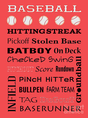 Hitting Deck Digital Art - Baseball Typography by Terry Weaver