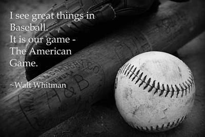 Photograph - Baseball Walt Whitman by Kelly Hazel
