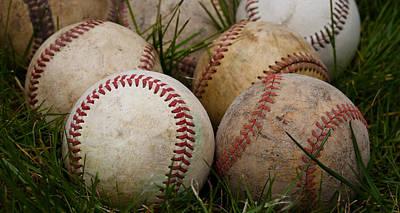 Baseballs On The Grass Art Print by David Patterson