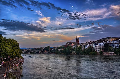 Basel Bathed In Moonlight Art Print by Carol Japp