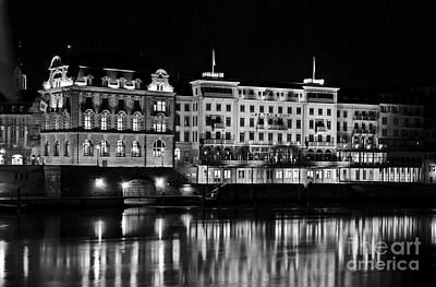 Basel By Night - Grand Hotel Les Trois Rois Art Print