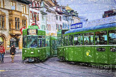 Photograph - Basel Green Cars Painting by Rick Bragan