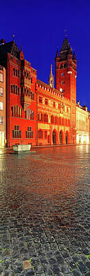 Basel Photograph - Basel Town Hall At Night, Market by Panoramic Images