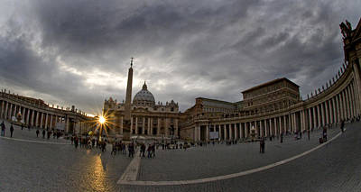 St Peters Basilica Photograph - Basilica In The Town Square At Sunset by Panoramic Images