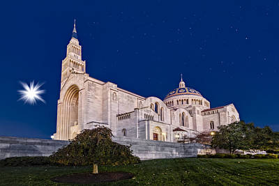 Moon Photograph - Basilica Of The National Shrine Of The Immaculate Conception by Susan Candelario