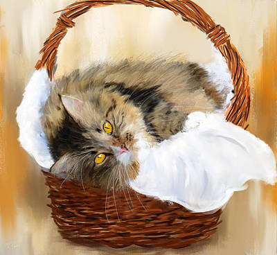 Maine Coon Painting - Basket Case by Lourry Legarde