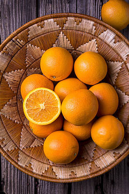 Basket Full Of Oranges Art Print by Garry Gay