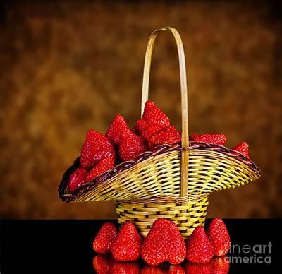 Basket Full Of Strawberries Art Print by Shirley Mangini