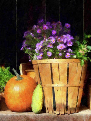 Basket Of Asters With Pumpkin And Gourd Art Print by Susan Savad