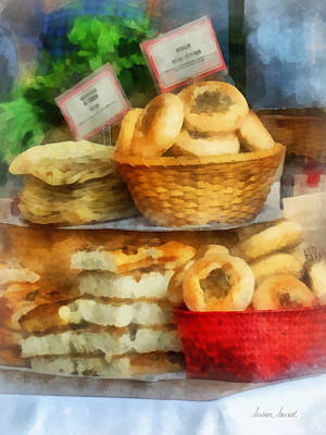 Breads Photograph - Basket Of Bialys by Susan Savad