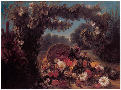 Basket Of Flowers In A Park Art Print