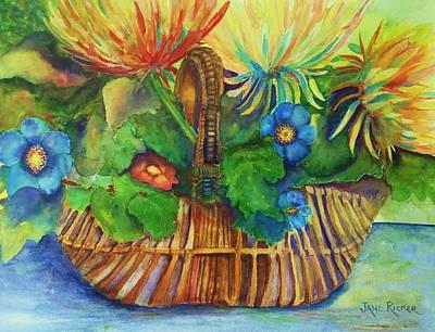 Painting - Flowers In My Basket by Jane Ricker