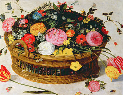Basket Of Flowers  Art Print