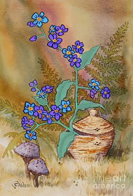 Basket Of Forgetmenots Art Print by Teresa Ascone