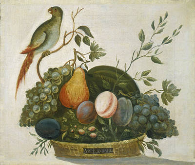 Basket Of Fruit With Parrot Art Print