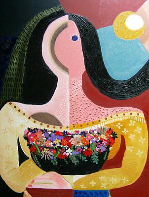 Basket Of Garden Flowers Original by Karen Serfinski