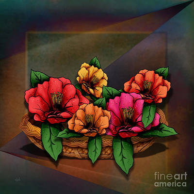 Vivid Digital Art - Basket Of Hibiscus Flowers by Peter Awax