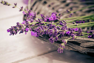 Photograph - Basket Of Lavender Flowers On Wooden by Westend61