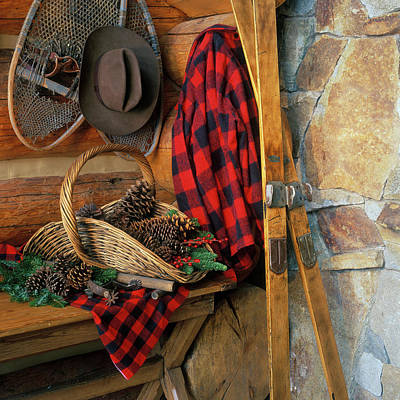 Old Log Cabin Photograph - Basket Of Pine Cones Next To Red by Vintage Images