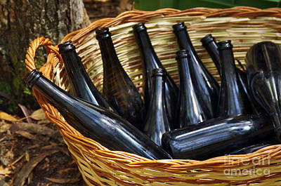 Basket With Bottles Art Print