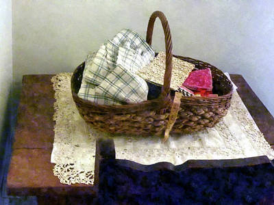 Photograph - Basket With Cloth And Measuring Tape by Susan Savad