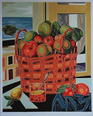 Painting - Basket With Fruit by Varvara Stylidou