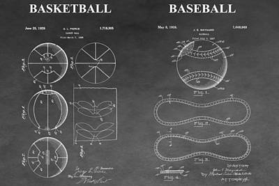 Basketball And Baseball Patent Drawing Art Print