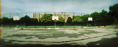 Basketball Court In A Public Park Art Print by Panoramic Images
