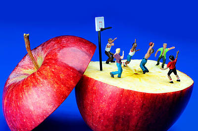 Basketball Games On The Apple Little People On Food Art Print by Paul Ge