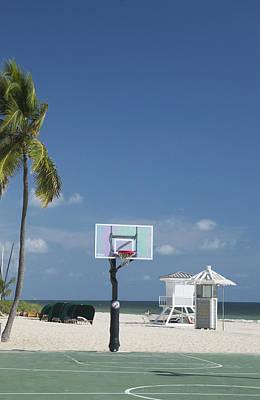 Basketball Goal On The Beach Art Print by Bob Pardue