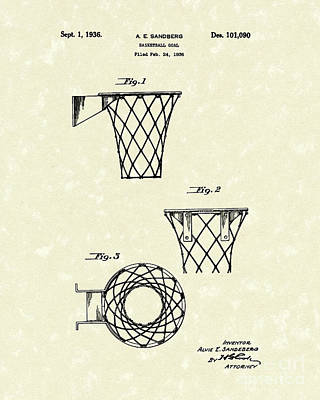 Basketball Hoop Drawing - Basketball Hoop 1936 Patent Art by Prior Art Design