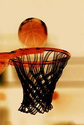 Basket Ball Game Painting - Basketball Hoop And Basketball Ball 1 by Lanjee Chee