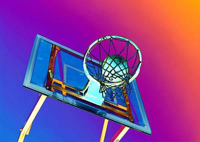 Basket Ball Game Painting - Basketball Hoop And Basketball Ball by Lanjee Chee