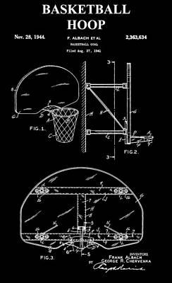 Basketball Hoop Patent Art Print by Dan Sproul