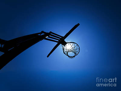 Sports Royalty-Free and Rights-Managed Images - Basketball Hoop Silhouette by Diane Diederich
