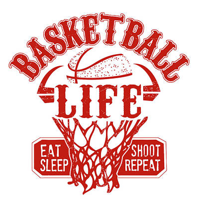Basketball Painting - Basketball Life Red by Longfellow Designs