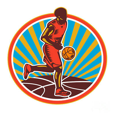 Basketball Player Dribbling Ball Woodcut Retro Art Print by Aloysius Patrimonio