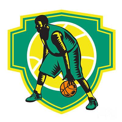 Basketball Player Dribbling Ball Woodcut Shield Retro Art Print