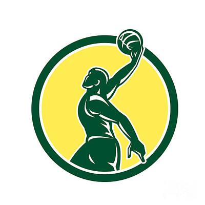 Basketball Player Dunk Ball Circle Retro Art Print