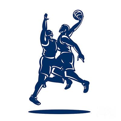 Basketball Player Dunk Block Retro Art Print by Aloysius Patrimonio