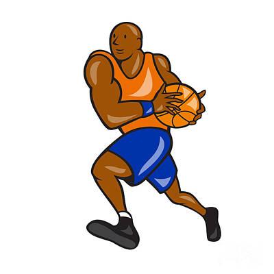 Basketball Player Holding Ball Cartoon Print by Aloysius Patrimonio