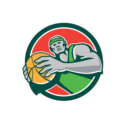 Basketball Player Holding Ball Circle Retro Art Print by Aloysius Patrimonio