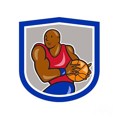 Basketball Player Holding Ball Shield Cartoon Print by Aloysius Patrimonio