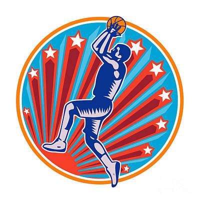 Scoring Digital Art - Basketball Player Jump Shot Ball Circle Woodcut Retro by Aloysius Patrimonio