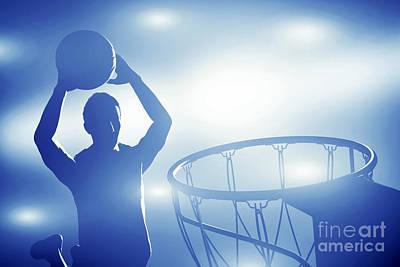 Net Photograph - Basketball Player Jumping For Slam Dunk by Michal Bednarek