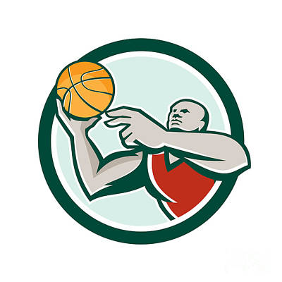Lay Digital Art - Basketball Player Lay Up Ball Circle Retro by Aloysius Patrimonio